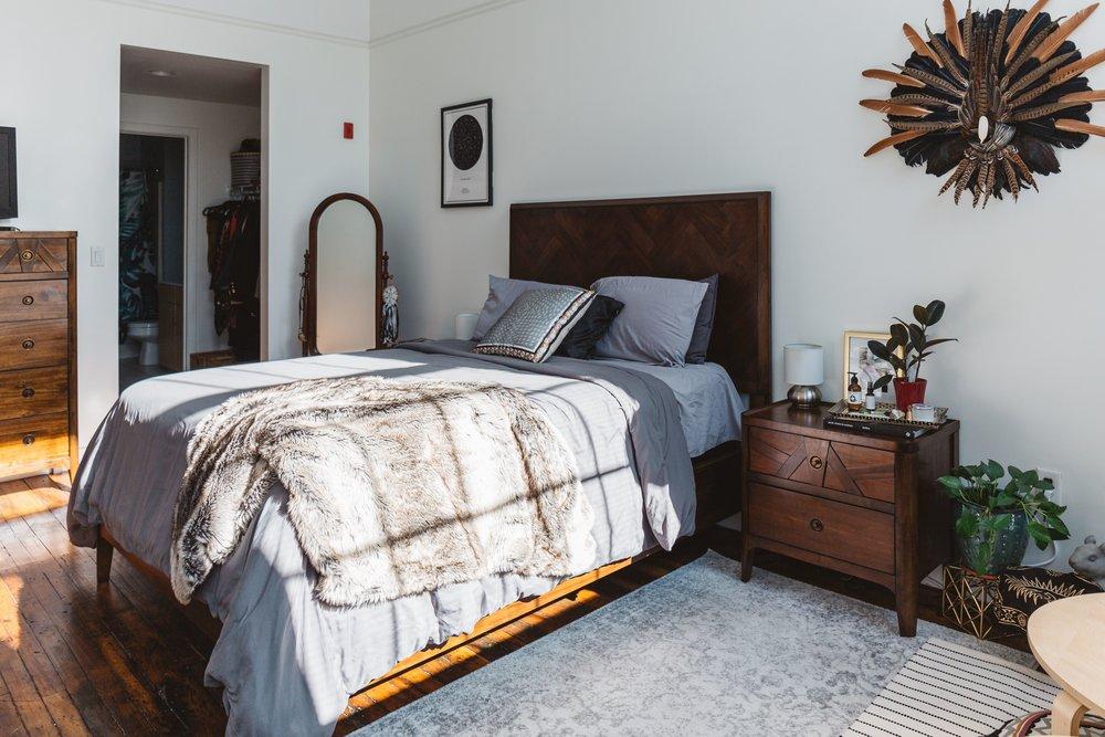 Herringbone queen bedroom set from  Raymour & Flanigan .