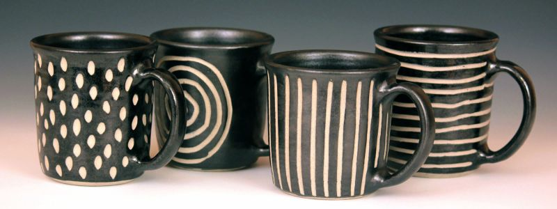 """Mugs"" ceramic, approx. size 4 1/2"" x 4"" $40 each"