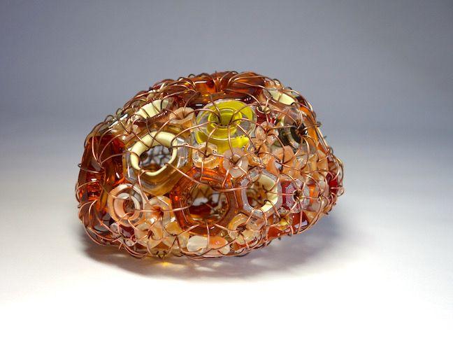 """""""Sea Stone 17/02"""" blown glass and copper 4"""" x 4"""" x 6"""" $1,700"""