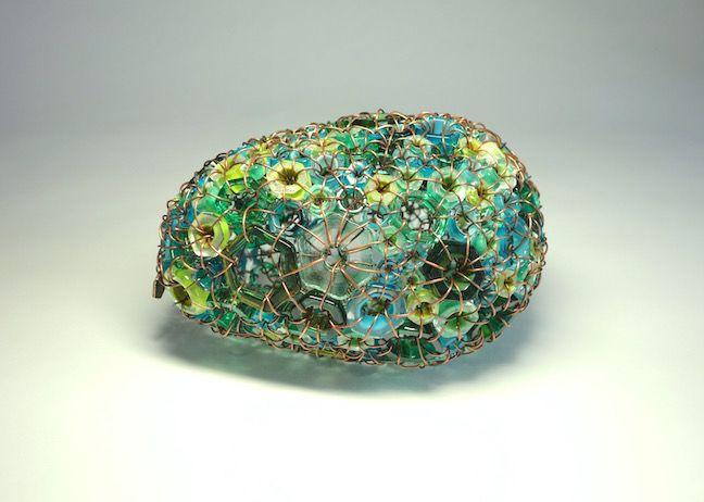 """>> """"Sea Stone 17/03"""" blown glass and copper 7 1/2"""" x 5"""" x 4 1/2"""" $1,900"""