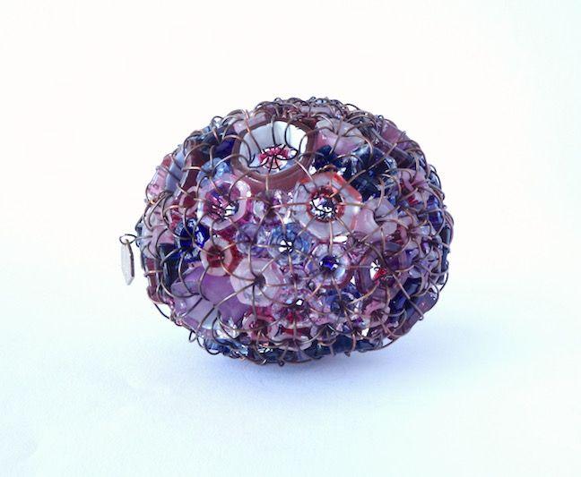 """""""Sea Stone 17/11"""" blown glass and copper 4"""" x 3 1/2"""" x 3 1/4"""" $1,000"""