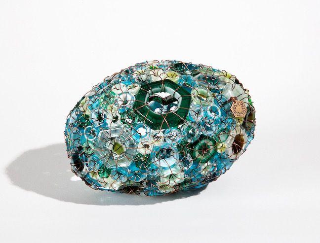 """""""Sea Stone 15/08"""" blown glass and copper 4"""" x 4"""" x 6"""" $900"""
