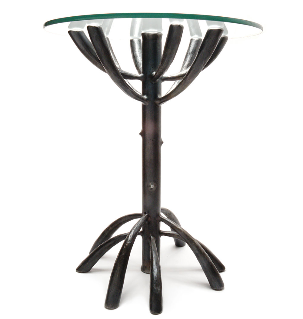 """Mangrove Table"" Steel; forged, fabricated & glass 24"" x 20"" x 20"" $2300"