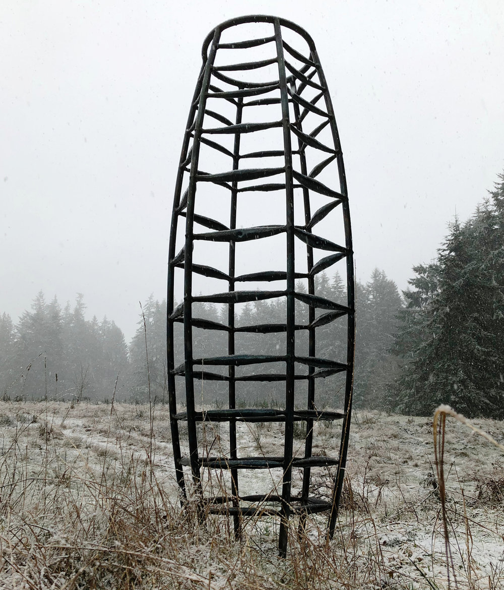 """Mothers' Place"" Steel; forged, fabricated 85"" x 30"" x 30"" SOLD"