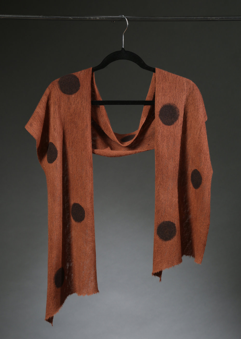 """Wool Knit Dot Scarf 3"", Textile, ""66"" X 11"" $175"