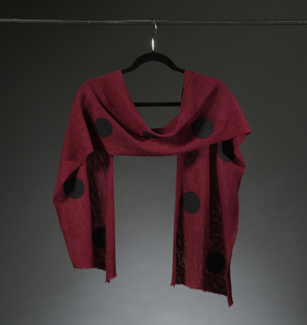 """Wool Knit Dot Scarf 4"", Textile ""66"" X 11"", $175"