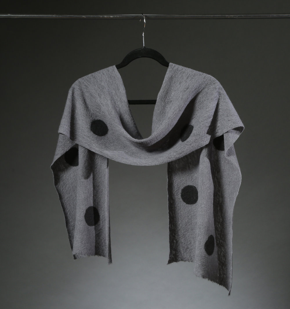 """Wool Knit Dot Scarf 5"", Textile ""66"" X 11"" $175"