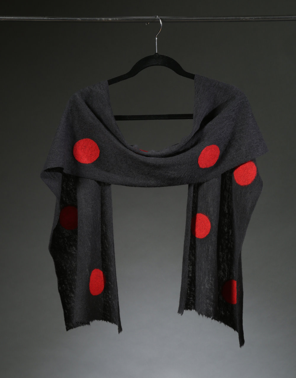 """Wool Knit Dot Scarf 6"", Textile ""66"" X 11"" $175"