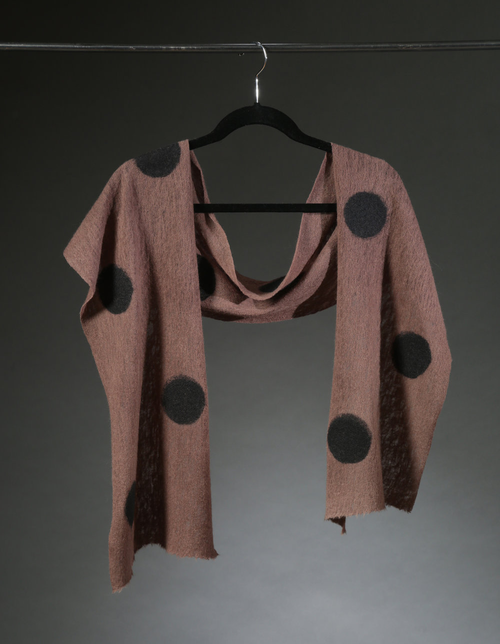 """Wool Knit Dot Scarf 1"", Textile, 66"" x 11"", $175"