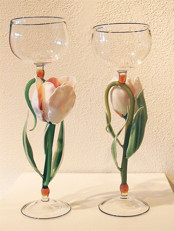 """Tulip Goblets"" lamp worked glass, 10"" x 3 1/2"" (Sold)"