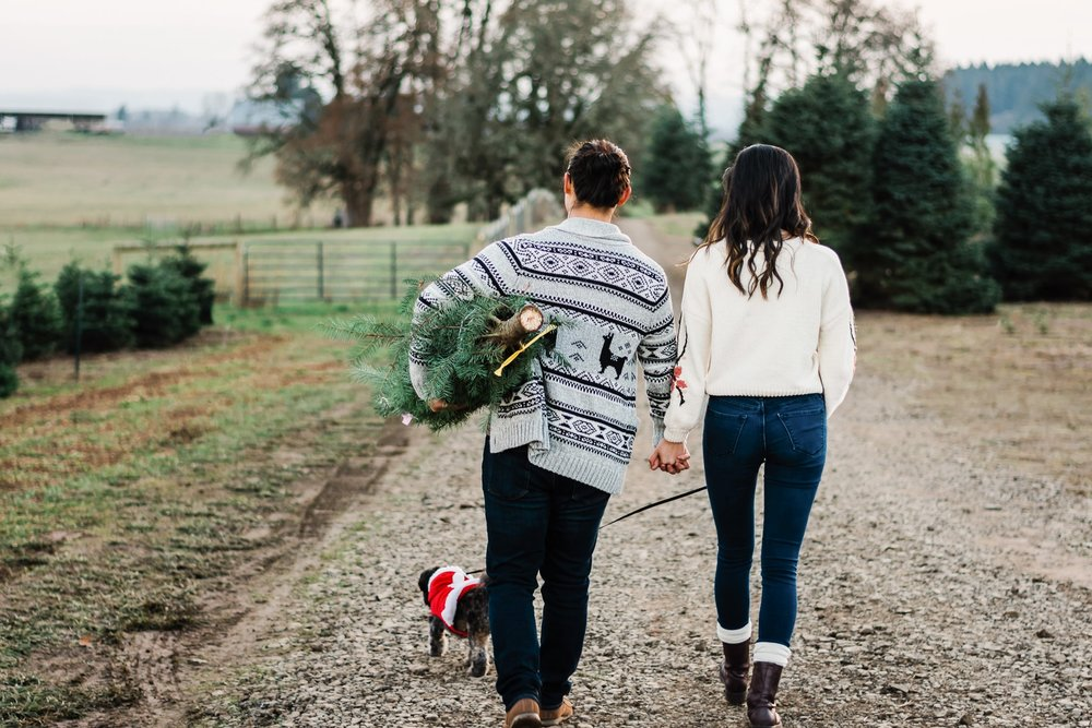 Christmas tree farm engagement in Portland OR