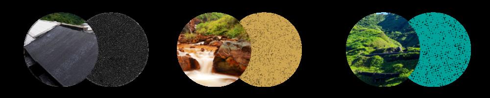 黑屋頂,金色砂土,翠綠山脈   照片來源:(左起)Taiwankengo,數位島嶼 小艾,數位島嶼 多尼