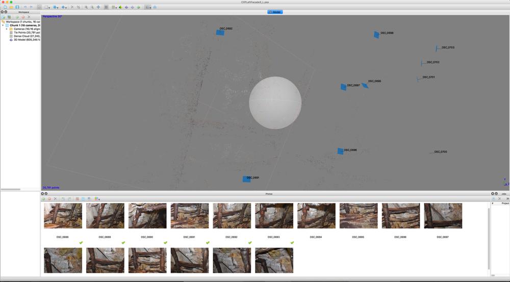 對目標物件做一系列個角度的拍攝,利用photometry技術重建3D資料 A series of photos were taken and then went through the align photo / build sparse cloud / create geometry process to rebuild 3D data