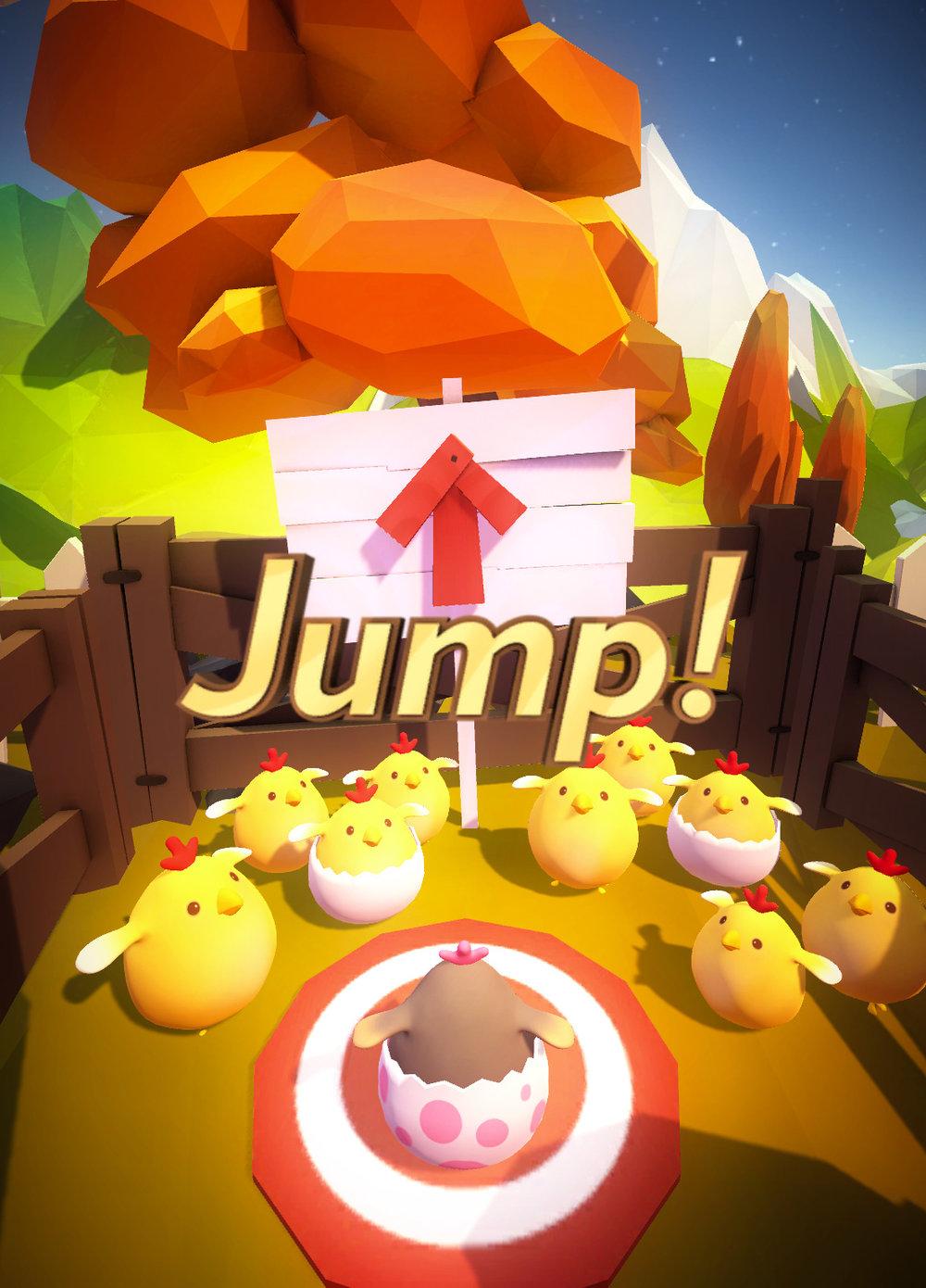 到達起跳點時會提示跳躍.周圍還有許多小雞同伴幫你加油.