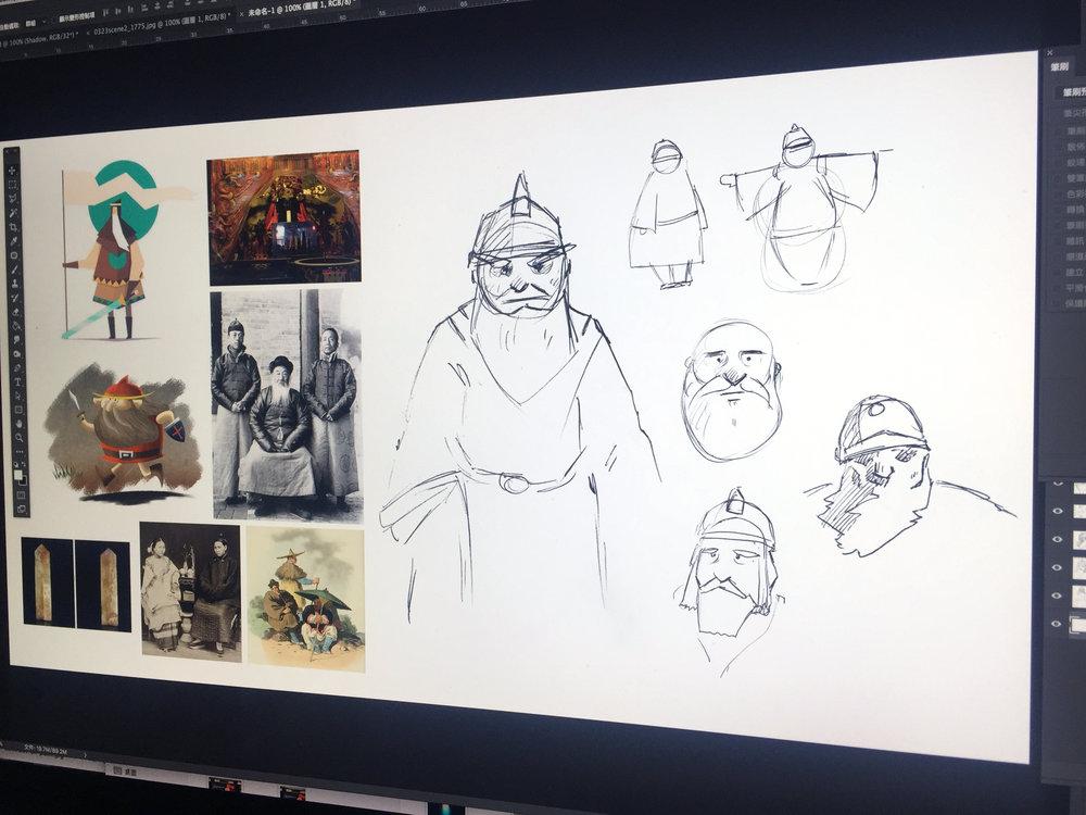 城隍爺角色參考資料與草圖