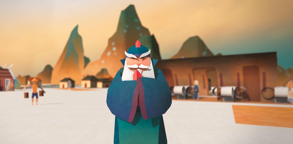 城隍爺在動畫中扮演說書人的角色,帶領民眾進入立體時光之書的世界