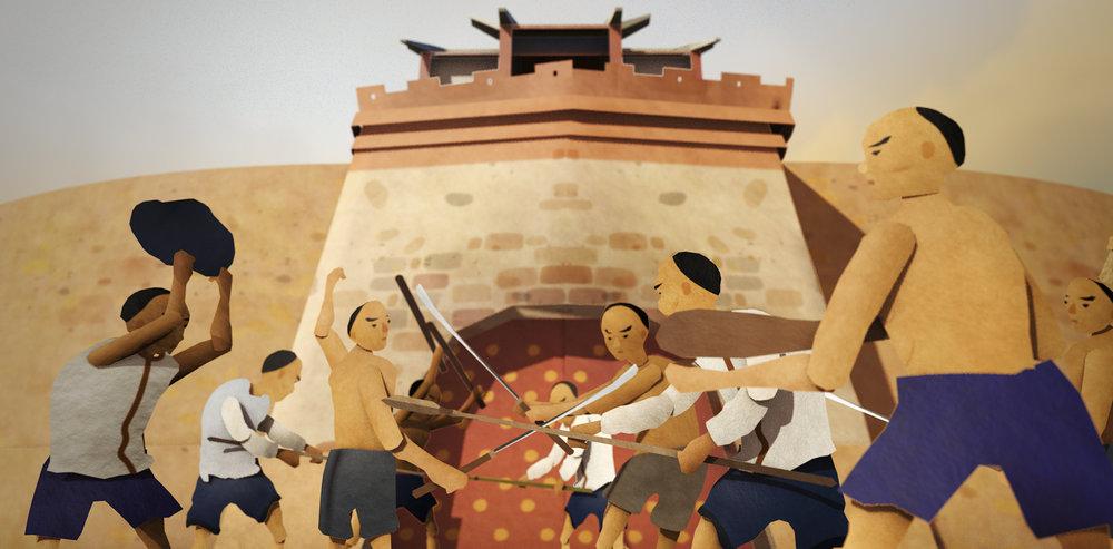 清朝時期新舊城多次遭遇民變的考驗,藉由紙娃娃系統讓人物外觀多變化