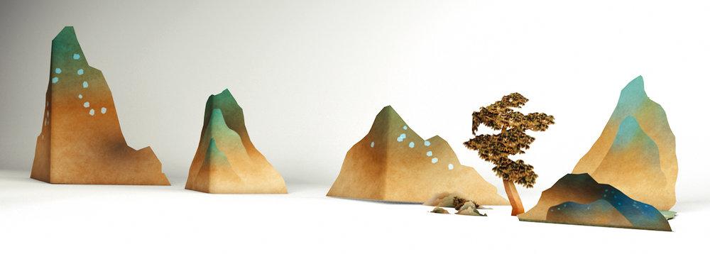康熙臺灣輿圖,與轉換為立體書風格的3D物件