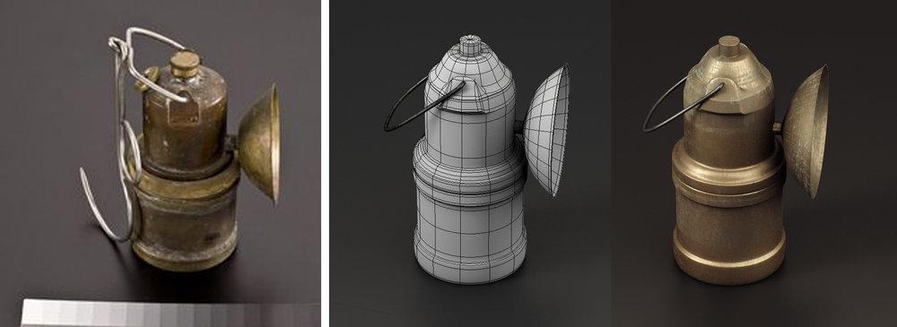 除了Photometry技術外,也有物件是依循傳統3D流程,依據文物照片資料,在3D軟體從零開始製作完成.