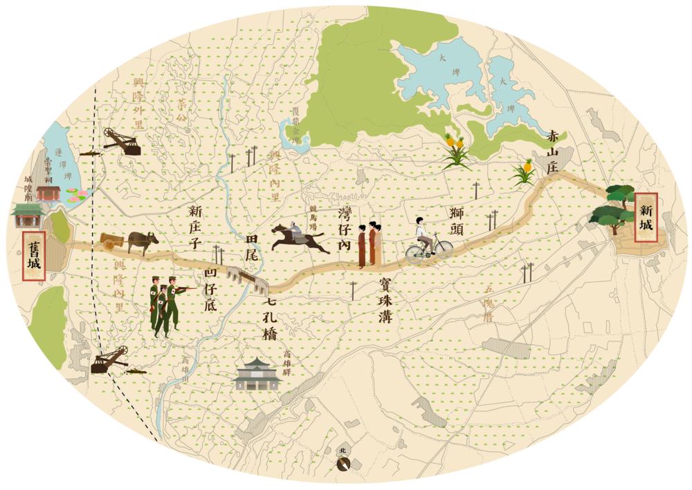 日治時期風格相對清代更具現代感.並運用地圖特有的標號,例如標示林區,湖泊,建地等圖標