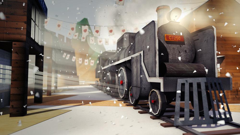 日治時期是一個新時代的開始,動畫也營造出嶄新的氛圍.現代化建設穿越新舊城,火車急駛穿越觀眾眼前