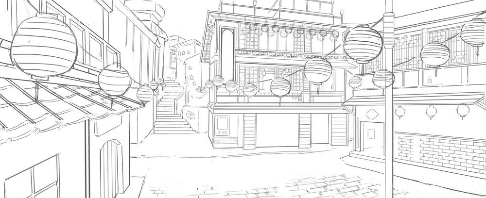 場景:九份茶樓,線稿階段