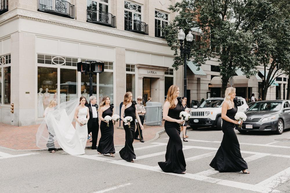 BOSTON PUBLIC GARDEN WEDDING, GARDEN WEDDING, BOSTON WEDDING PLANNER, NICOLE SIMERAL, FOUR SEASONS WEDDING, CLASSIC, TIMELESS, WEDDING WEDDING PLANNER, DESTINATION WEDDING, BRIDESMAID, BLACK GOWN, PARK WEDDING