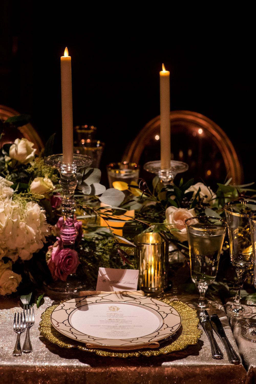 Devin-Dan-Winter-Wedding-Boston- Wedding-Destination-Wedding-Wedding-Planner-Nicole-Simeral-Harvard-Club-Decor-Flowers-Candles-Candlelight-Luxury-wedding-burgundy-purple-gold-faux-candles