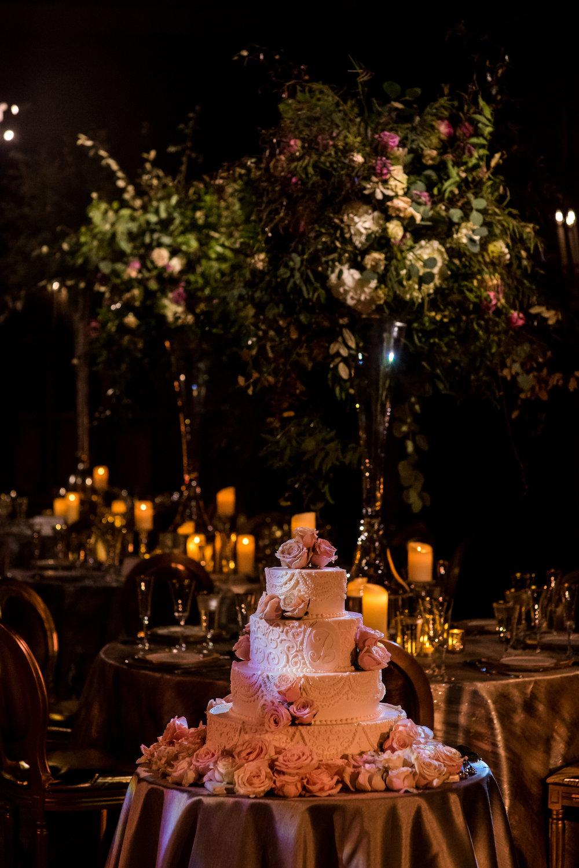 Devin-Dan-Winter-Wedding-Boston- Wedding-Destination-Wedding-Wedding-Planner-Nicole-Simeral-Harvard-Club-Decor-Flowers-Candles-Candlelight-Luxury-wedding-burgundy-purple-gold-faux-candles-cake