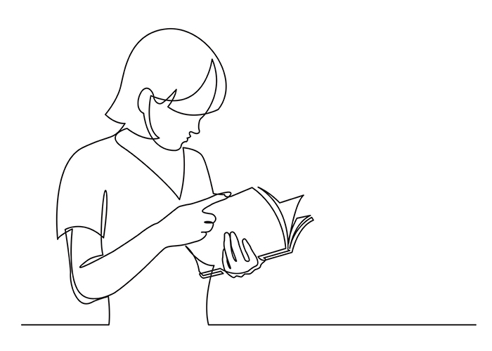 A stylised image of a woman reading a play.jpg