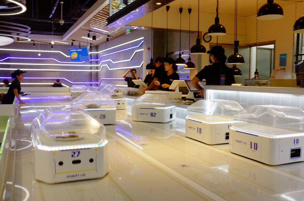 new robotized restaurant in Hema supermarket