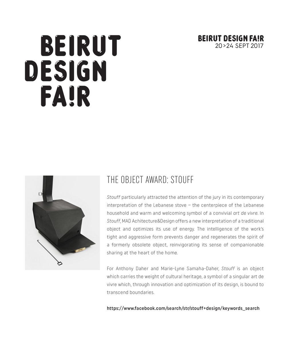 Beirut Design Fair 2017 - The Object Award : Stouff