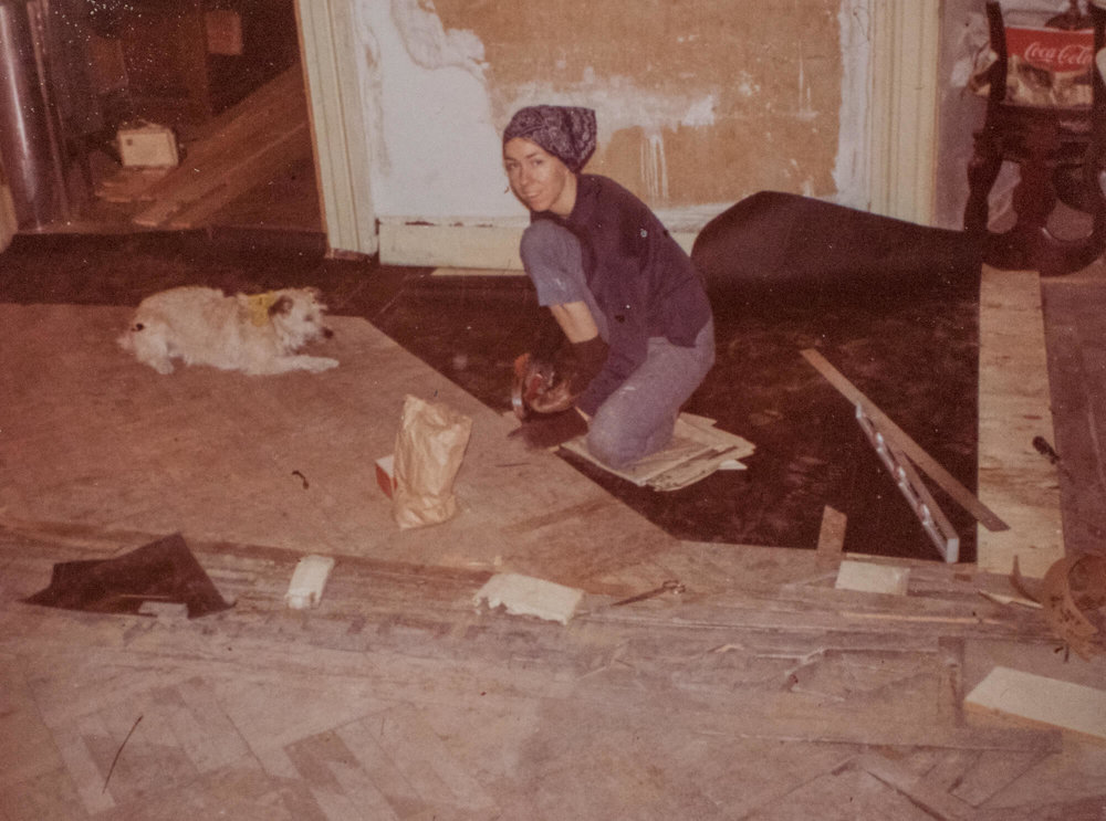 Jane Rinden working on the house (from thor's renovation journal), c. 1972.
