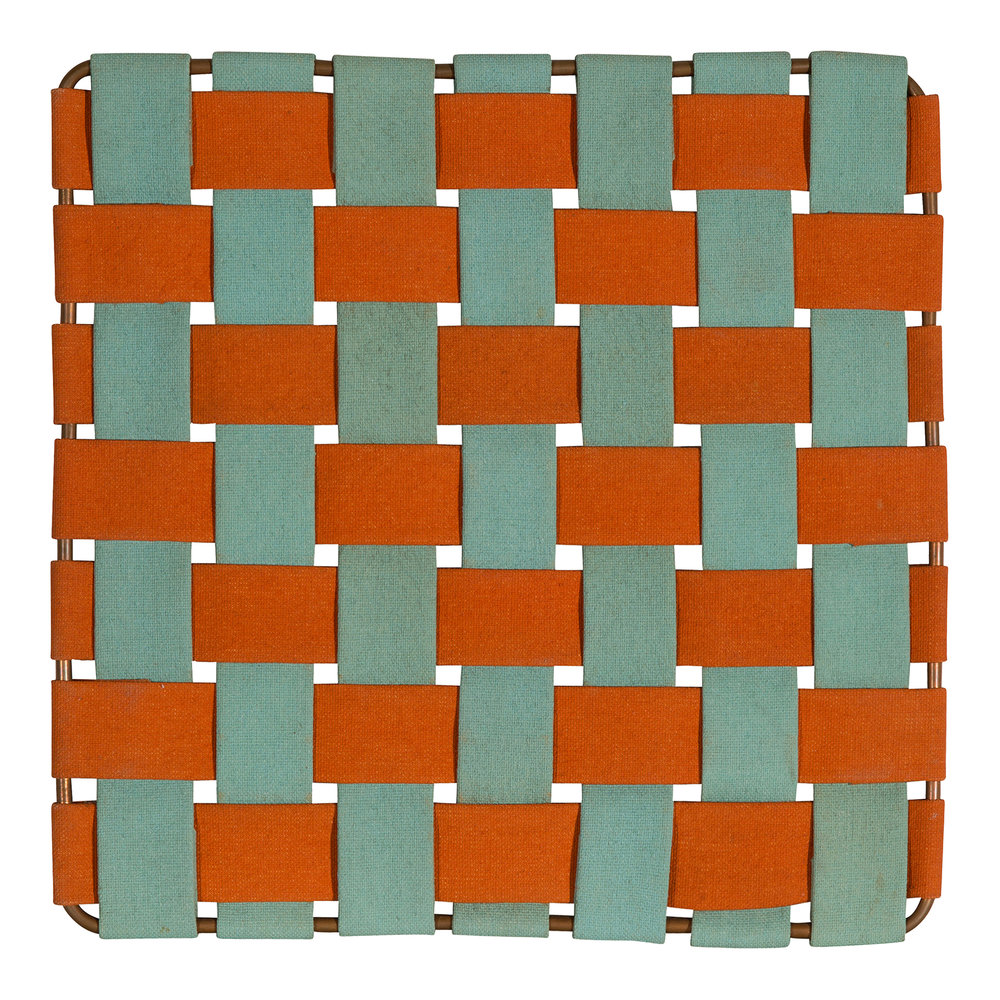 Architectural Five (1968).  acrylic latex on woven canvas strips around wire frame, 10.5 x 10.5 inches.