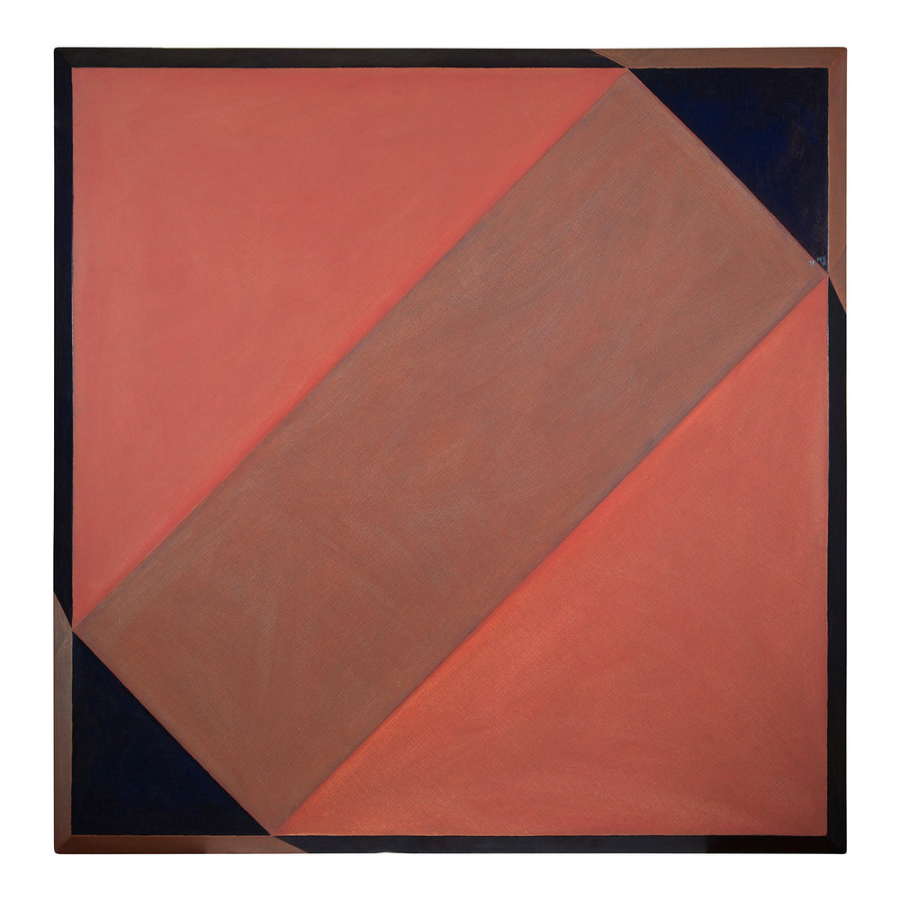 Untitled (rose, brown, prussian blue) (1976 ). oil on canvas over masonite 51 x 51 inches