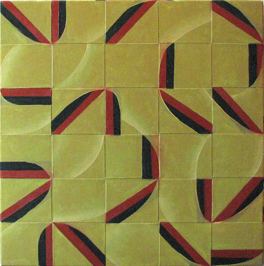 Interstate (1980) . oil on canvas strips over masonite, 24.5 x 24.5 inches