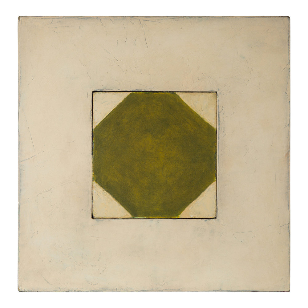 Martini Slab (1985).  oil on joined canvas over masonite, 17.75 x 17.75 inches