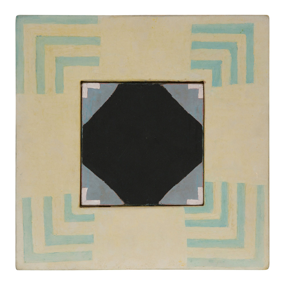 Octet for Brass (1986).  oil on joined canvas slabs, 12 x 12 inches..