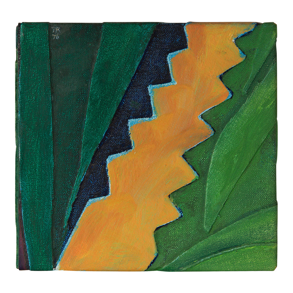 Untitled (tropical) (1976).  oil on layered canvas over wood, 6.5 x 6.75 inches..