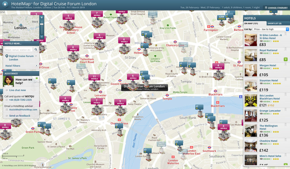 Digital Cruise Forum London HotelMap