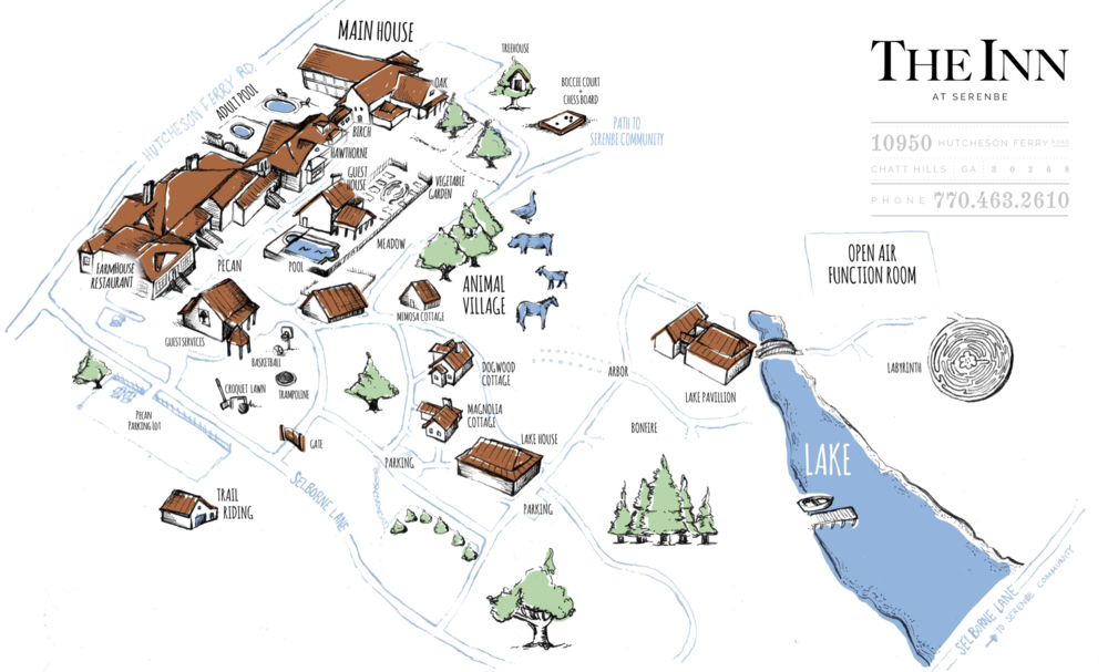 Map of the Inn at Serenbe. This is the wedding venue. The Inn is connected to the Serenbe community via walking trails, horse trails, and golf carts.