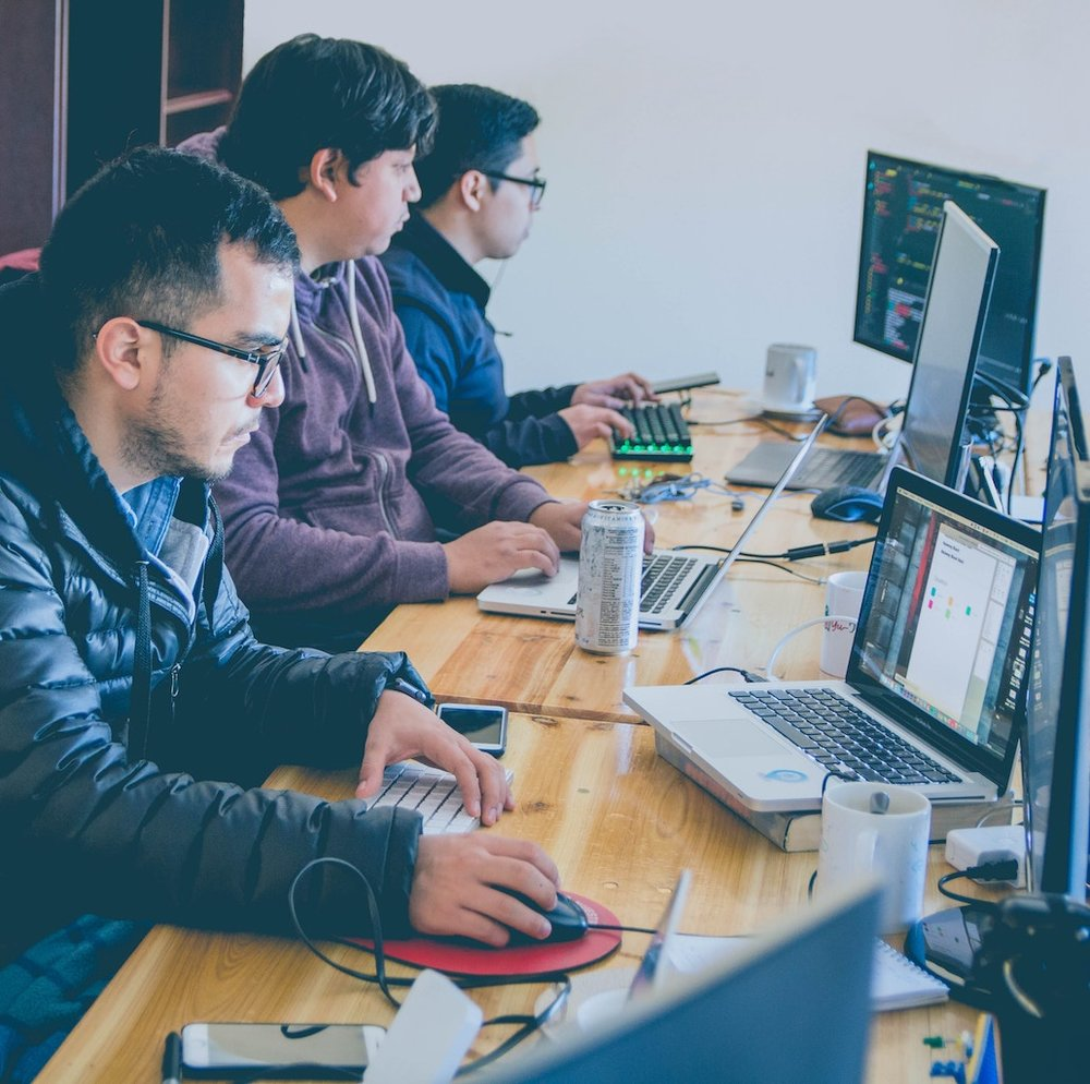Three Male Custom Software Developers Working on Computers