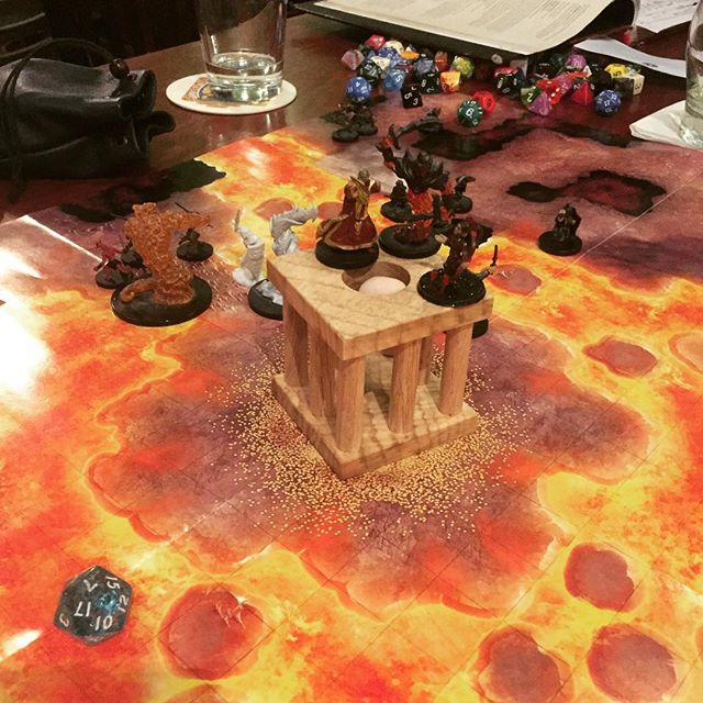 #dicedungeon in the wild!  Used as a plinth for the big baddie to protect a phoenix egg.  Some low rolling dice from the whole table found their way in there as well.  @dungeonmastermax ran the show with a ton of RP (my preferred style). I was able to show my wares and raffle off a walnut dungeon.  Thanks @orcsorcsorcs for a great night!  I'll be back!  If you are in Portland, like to keep it weird, this is THE EVENT for you.  Come join us; welcome home.  #apprenticespeaks . . . . #inthewild #handmade #artisan #dungeonsanddragons #dnd #dnd5e #dungeonmaster #dice #polyhedraldice #woodbox #gamenight #rollforinitiative #keepportlandweird