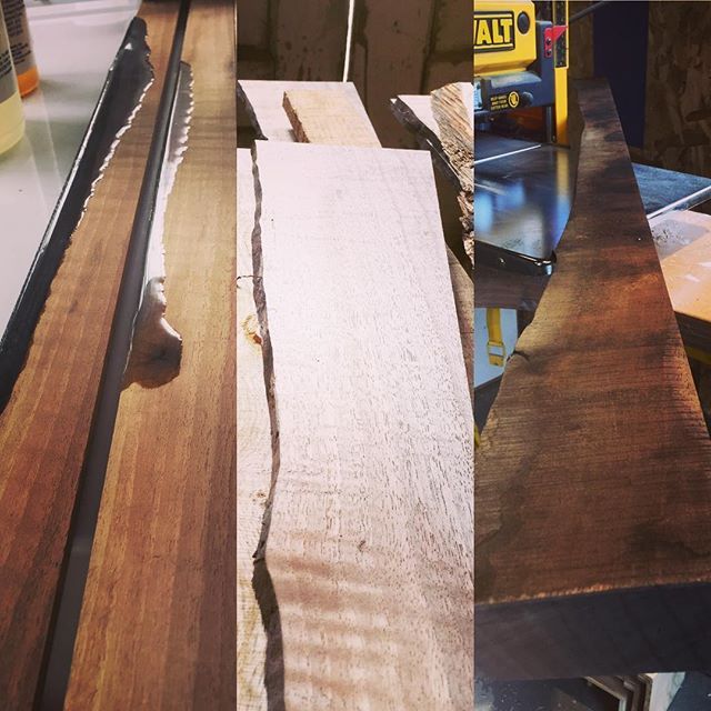 Getting these #beholderbox sides ready for @craftywonderland show in May 4th, means milling, cleaning out the live edge, and adding resin to capture the edge so there is enough surface area for a piston fit. The effort and continuous grain construction is worth it.  You'll see when you come on the 4th!  #apprenticespeaks . . . #dicetray #dicebox #dice #polyhedraldice #tabletoprpg #dungeonsanddragons #dnd #woodworking #woodworker #resin #makersgonnamake