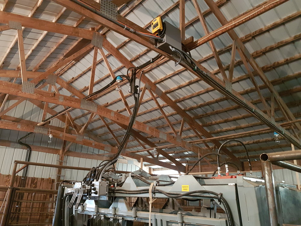 Part of a hydraulic sorting system in a barn