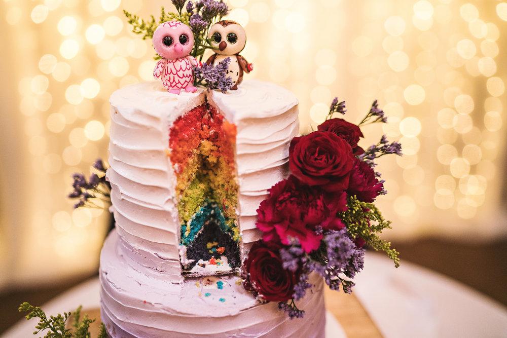 Rainbow Cake with Owls Taline&Will Wedding Reception.jpg