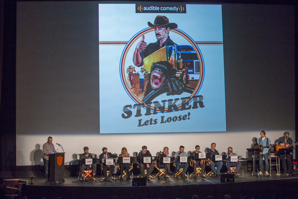 """""""Stinker Live!"""" cast onstage at SF Sketchfest, Castro Theatre, San Francisco, CA; January 14, 2018"""