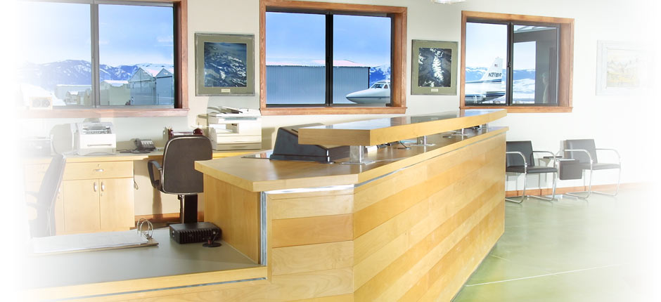 Concierge desk at Teton Aviation Center - Driggs FBO