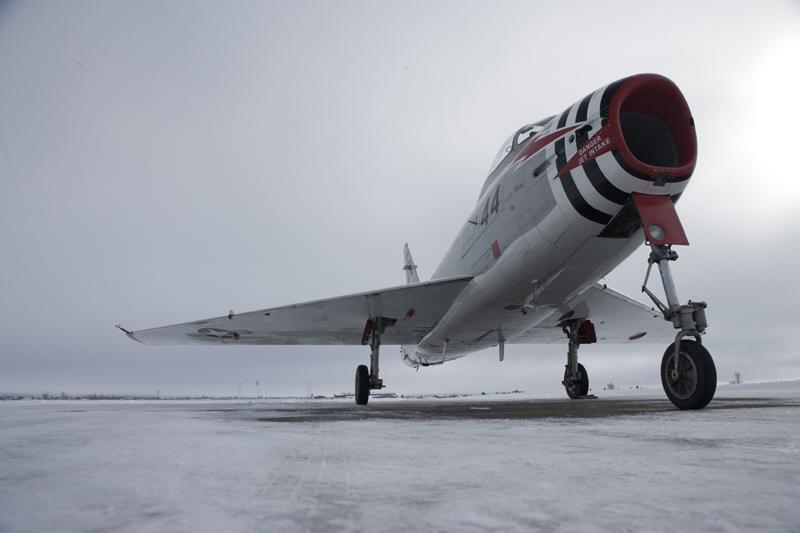 North American FJ-4 Fury on snowy runway
