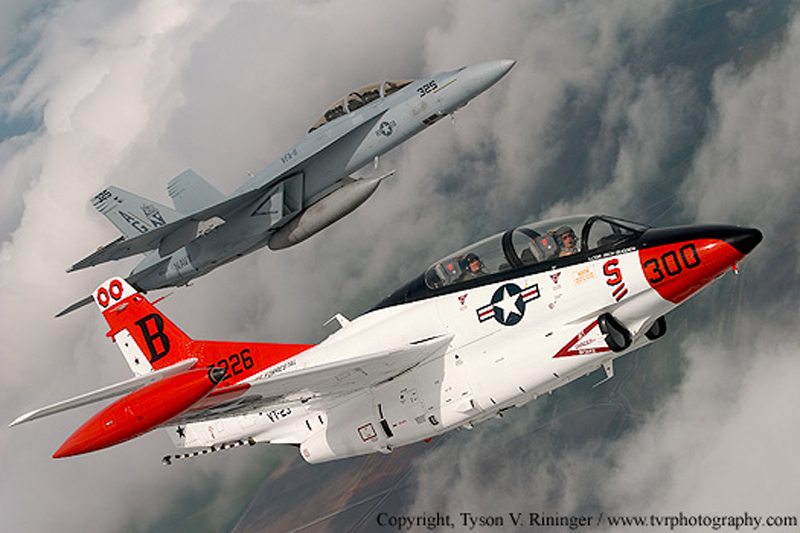 North American T-2 Buckeye with jet